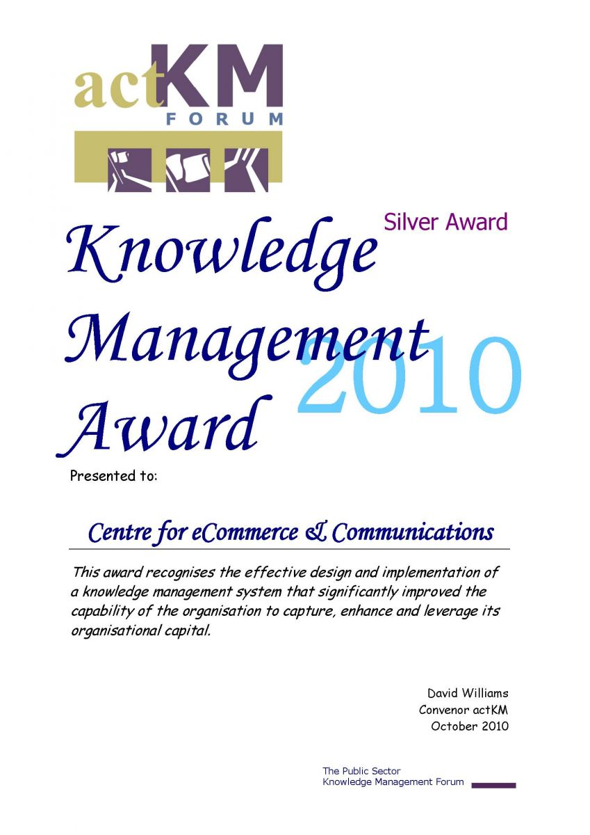 2010 actKM Knowledge Management Award