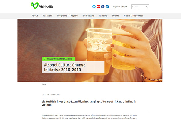 VicHealth is investing $3.1 million in changing cultures of risking drinking in Victoria