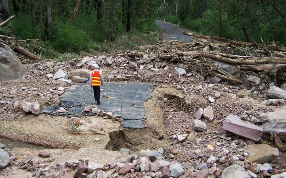 Pavement and culvert damage, Silverband Rd (source VicRoads)