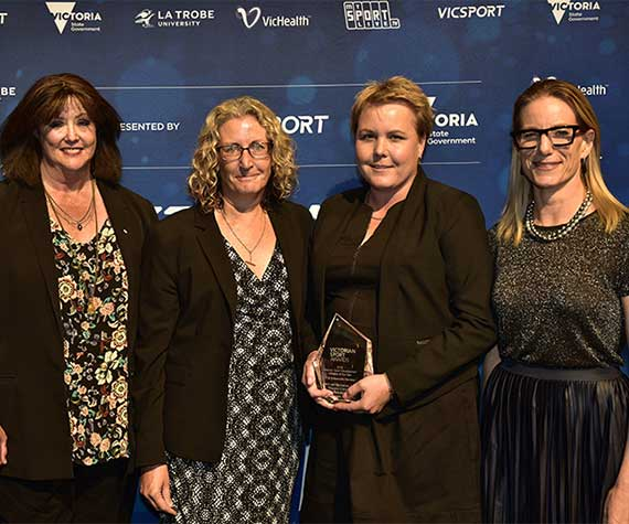 Photo, L-R: Margot Foster, Chair of Vicsport, Helen Thompson, Rochelle Eime, and Jerril Rechter, CEO of Vichealth at the Victorian Sport Awards