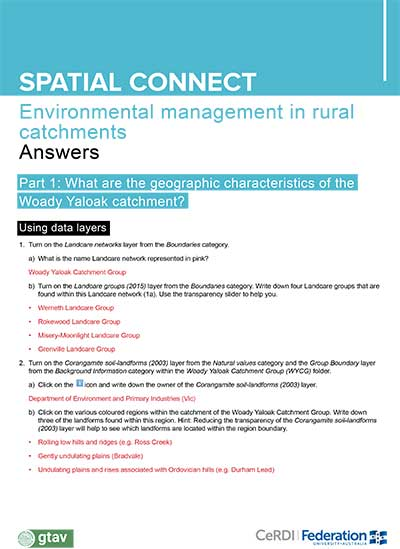 Environmental management in rural catchments - Answers
