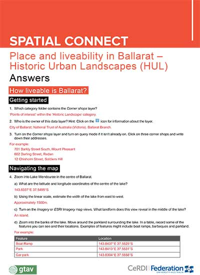 Place and liveability in Ballarat Historic Urban Landscapes - Answers
