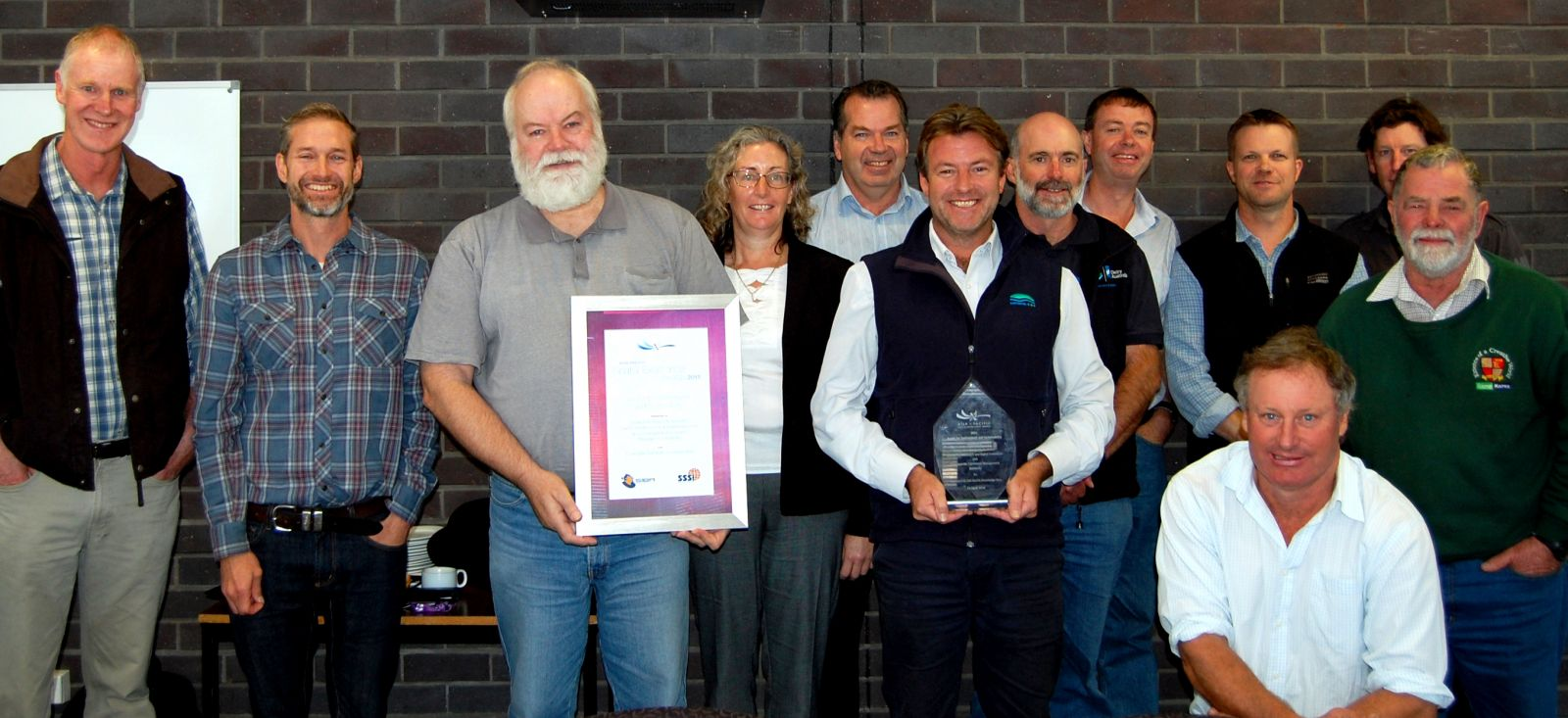 Sharing in the award success is the Corangamite Soil Health Group together with CeRDI's Peter Dahlhaus and Thompson.