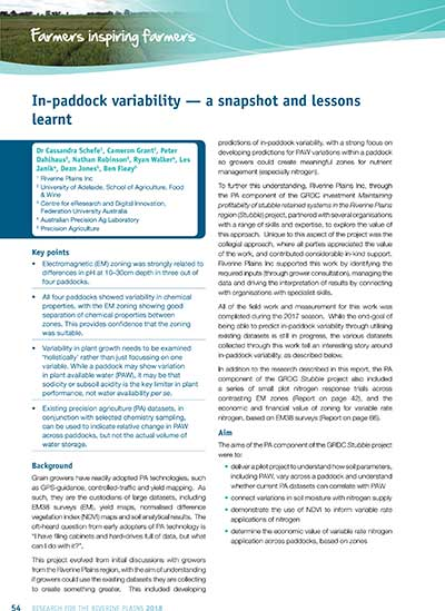 In-paddock variability - a snapshot and lessons learnt