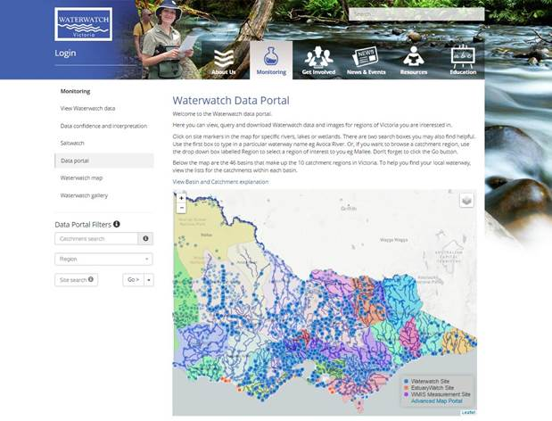 Water Watch Data Portal Screen Shot
