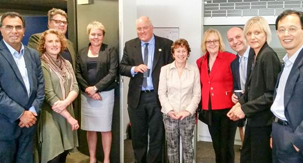 Professor Leigh Sullivan, Deputy Vice-Chancellor (Research and Innovation), centre, with senior academics at the launch of FedUni�s new research priority areas.