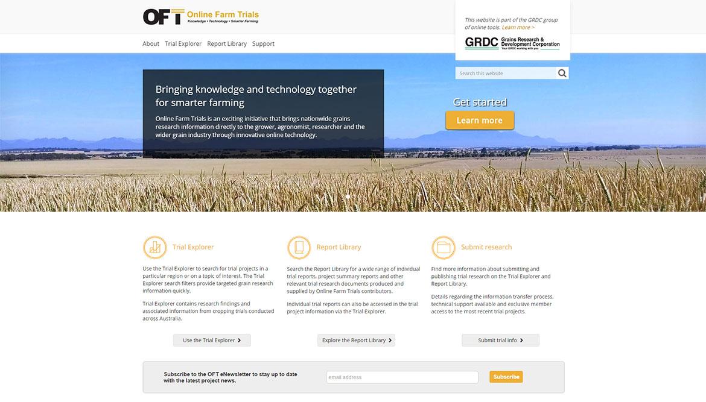 Online Farm Trials website