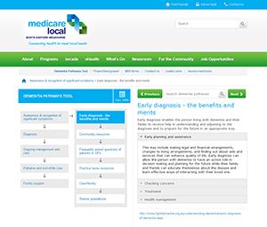 Screenshot of SEMML Dementia Pathways Tool